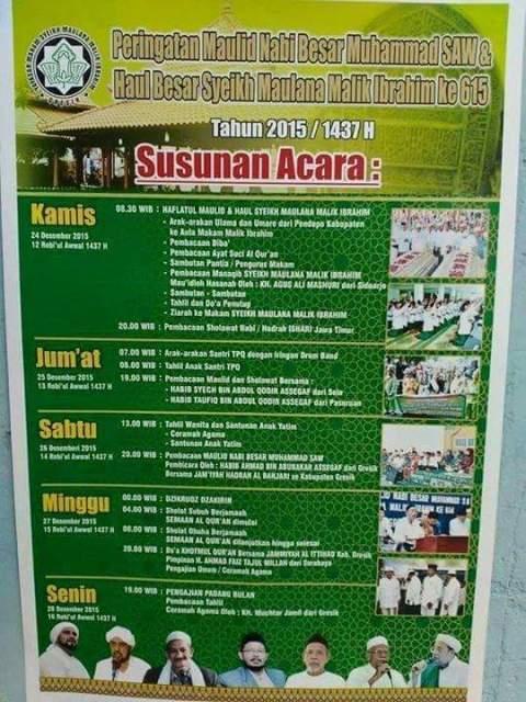 jadwal maulid nabi muhammad 1437 H dan Haul besar Syekh Maulana Malik Ibrahim ke 615 di Gresik
