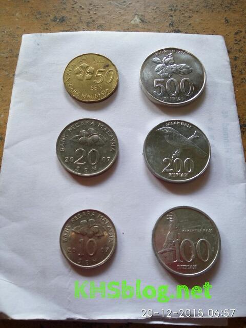 uang logam Malaysia dan Indonesia disandingkan