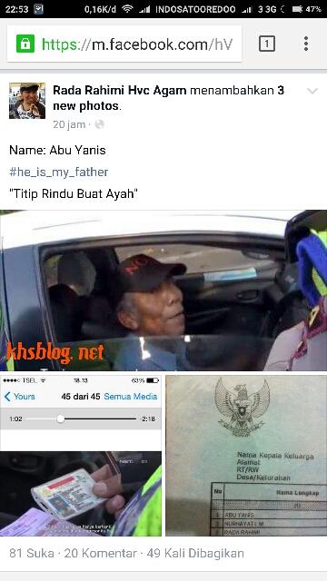 Abu Yanis sopir taksi yang ditilang polisi di Jakarta ternyat ayah dari netizen Rada Rahimi asal Agam Sumatra Barat