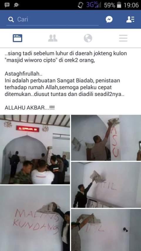 aksi vandalisme alias corat-coret di masjid Wiworo Tjipto jalan Bantul Mantrijeron jogjakarta hari rabu, 20 Januari 2016