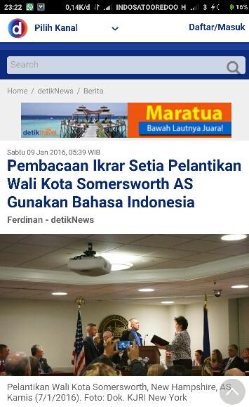 Bahasa Indonesia digunakan sebagai bahasa ikrar Walikota Somersworth, New York, Amerika tahun 2016
