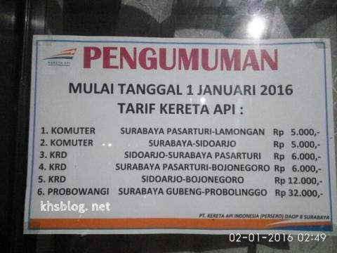 daftar harga tiket kereta api Komuter, KRD, dan Probowangi per tanggal 1 Januari 2016