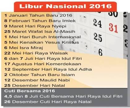 Daftar Hari Libur, Cuti Bersama dan Long Weekend tahun 2016