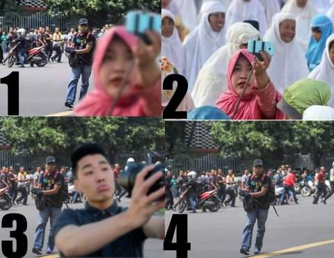 foto selfie ibu berhijab didepan teroris asalah olah digital, sotoshop dan hoax tahun 2016
