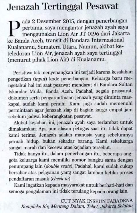 jenazah tertinggal di pesawat lion air tujuan Aceh pada tanggal 2 Desember 2015