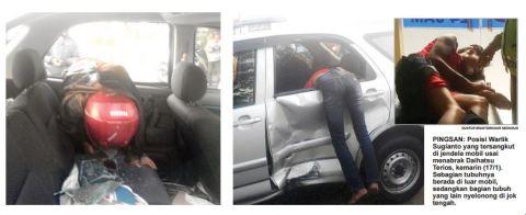 kecelakaan pengendara vixion nyangkut terios di porong sidoarjo 17 januari 2016