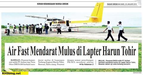 Lapangan Terbang Harun Tohir, Bawean, Gresik siap beroperasi 30 Januari 2016
