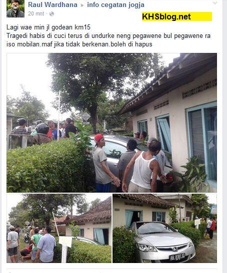 mobil honda matic nabrak rumah habis dicuci di daerah jogjakarta tahun 2016