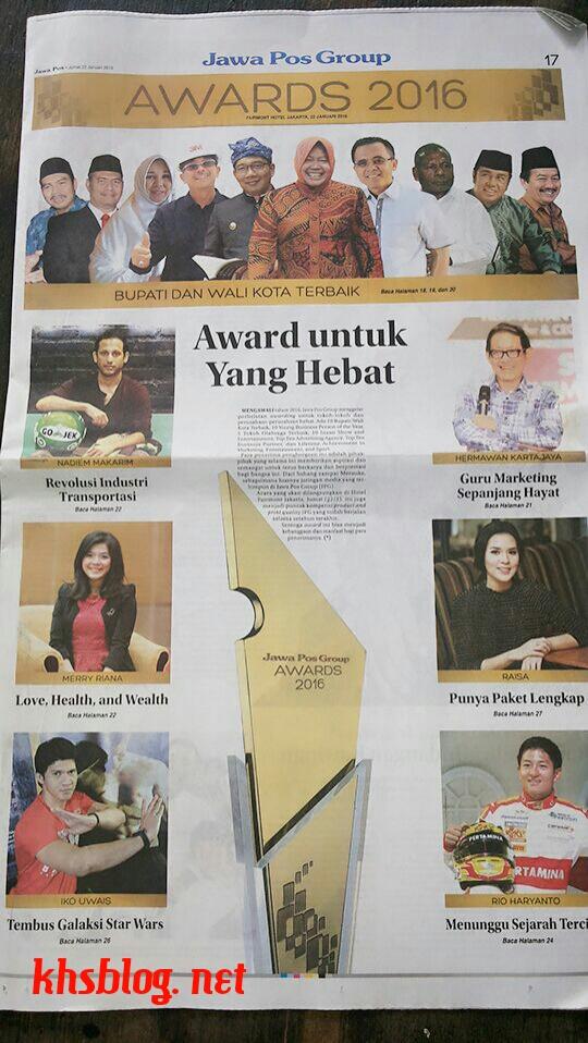 Walikota dan Bupati terbaik di Indonesia versi Jawa Pos Award 2016