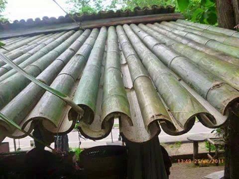 cara membuat atap rumah dari pohon bambu~04