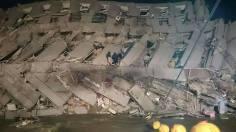 gedung ambruk akibat gempa ditaiwan tanggal 5 Pebruari 2016