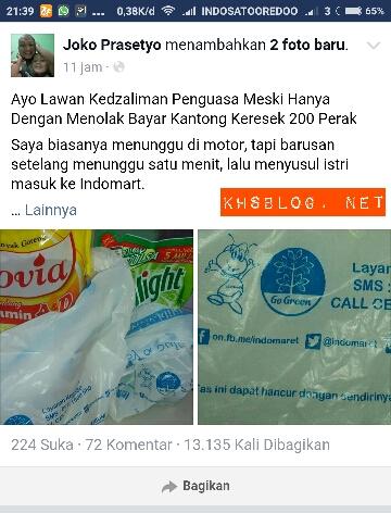 joko Prasetyo dari depok tolak bayar kantong kresek berbayar di Indomaret
