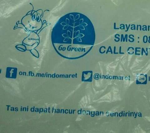 kantong plastik go green indomaret kini tak gratis alias membayar dengan harga 200 perak sejak 21 Pebruari 2016