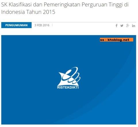 Klasifikasi dan Pemeringkatan Perguruan Tinggi di Indonesia Tahun 2015....ITB juara pertamax