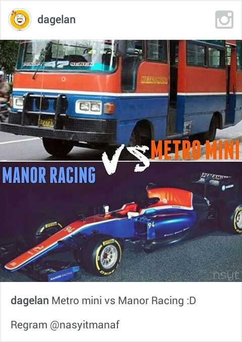 meme mobil balap rio Haryanto dan metro mini