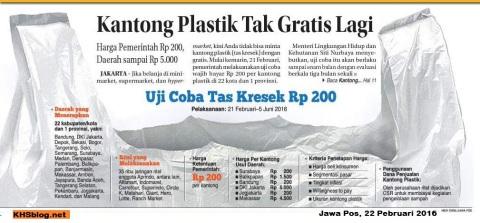 Pakai kantong plastik sekarang berbayar mulai tanggal 22 Pebruari 2016