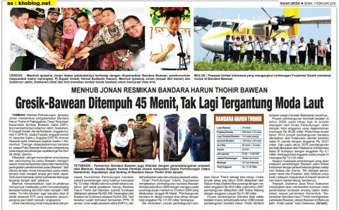 Peresmian Bandara Harun Thohir Pulau Bawean Gresik tanggal 30 januari 2016