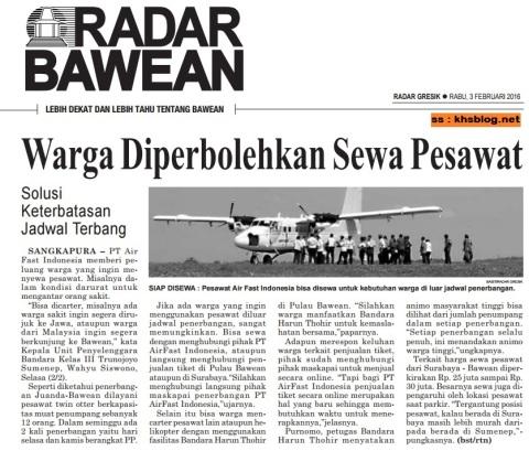 Pesawat Air Fast Indonesia bisa disewa ke pulau Bawean