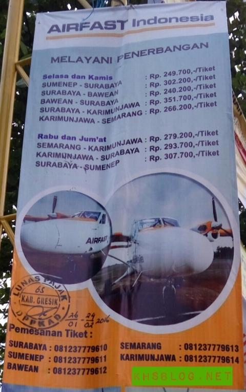 Tarif dan Jadwal penerbangan maskapai Airfast Indonesia tahun 2016...khususnya Surabaya-Bawean