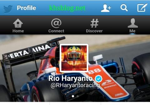 akun Twitter resmi rio haryanto pembalap Formula 1 asal Indonesia musim tahun 2016