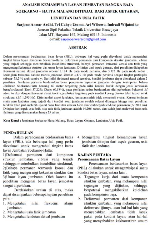 Analisa Fakultas Teknik Sipil Universitas Brawijaya terkait Jembatan Soekarno Hatta Malang pada tahun 2013
