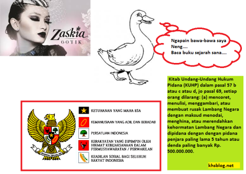 Menurut Zaskia Gotik, lambang sila kelima Pancasila adalah Bebek Nungging dan ini pasal KUHP tentang penghinaan simbol negara