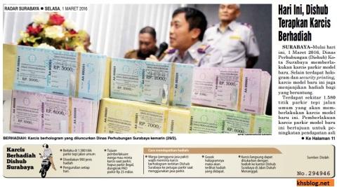 Parkir berhadiah di Surabaya mulai tanggal 1 Maret 2016