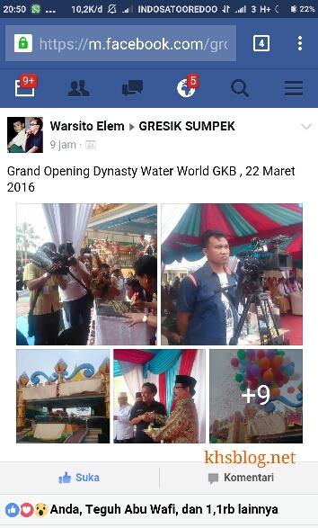peresmian Dynasty Water World GKB Gresik tanggal 22 Maret 2016 oleh Cak Warsito Gresik Sumpek