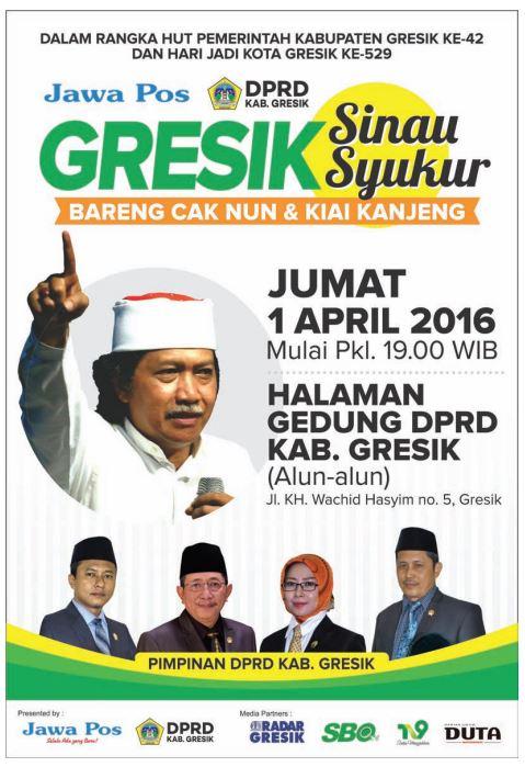 Sinau Syukur bareng Cak Nun di Gresik pada 1 April 2016