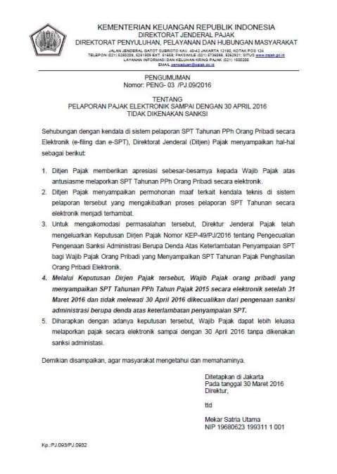 surat dirjen pajak terkait dispensasi pelaporan SPT secara elektronik hingga 30 April 2016
