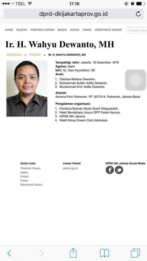 profil wahyu Dewanto Suripman anggota DPRD DKI Jakarta dari Partai Hanura
