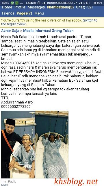 salamun asal Paciran Lamongan, jamaah umroh yang tertinggal di Makkah
