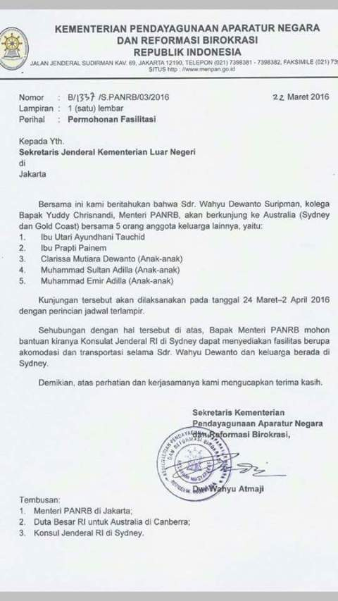 surat Katebelece wahyu Dewanto Suripman kolega MenPANRB Yuddy Chrisnandi