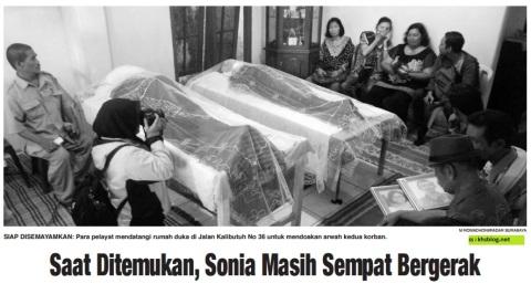 Wilson Tunggul Hamonangan Pasaribu, 59 dan putrinya Sonia Tiofani Aprilia, 22, warga Jalan Kalibutuh Nomor 36 Surabaya korban tewas penjambretan hari senin tanggal 18 april 2016