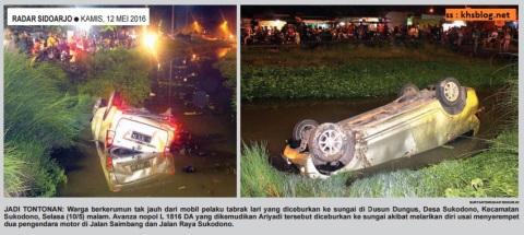 mobil avanza diceburkan ke sungai di dungus sukodono sidoarjo hari rabu tanggal 11 Mei 2016