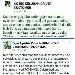 keluhan driver online terkait order player Pokemon Go