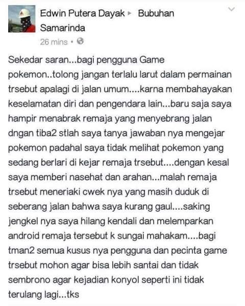 pemain Pokemon Go hampir ditabrak motor di Samarinda Kalimantan Timur tahun 2016