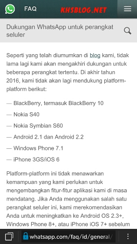 peringatan what's app tidak support Blackberry Z3 OS BB 10 bulan Juli 2016~02