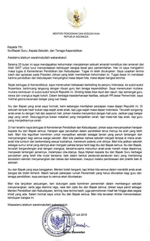 Surat terakhir Mendikbud Anies Baswedan tanggal 27 Juli 2016... mengharukan kawans