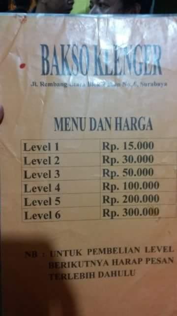 bakso Klenger dengan pentol jumbo di Surabaya tahun 2016~03