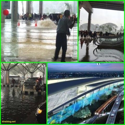 banjir di bandara terminal 3 ultimate soekarno hatta hari  minggu 14 agustus 2016