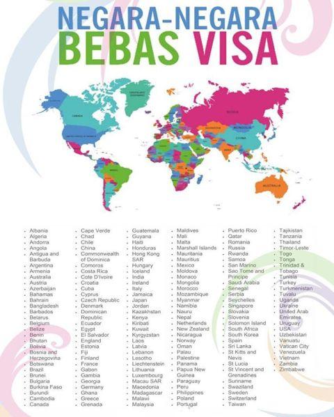 Daftar 169 negara di dunia bebas visa ke Indonesia per tahun 2016