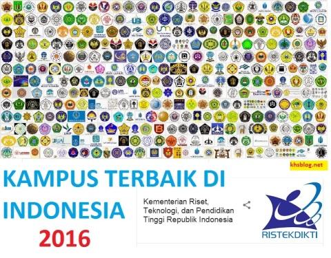 kampus terbaik atau perguruan tinggi terbaik di indonesia tahun 2016 versi Kemenristek Dikti