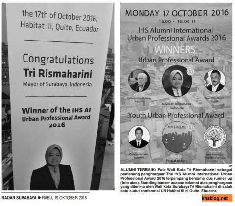 tri-rismaharini-dapat-penghargaan-alumni-ihs-international-berprestasi-tahun-2016